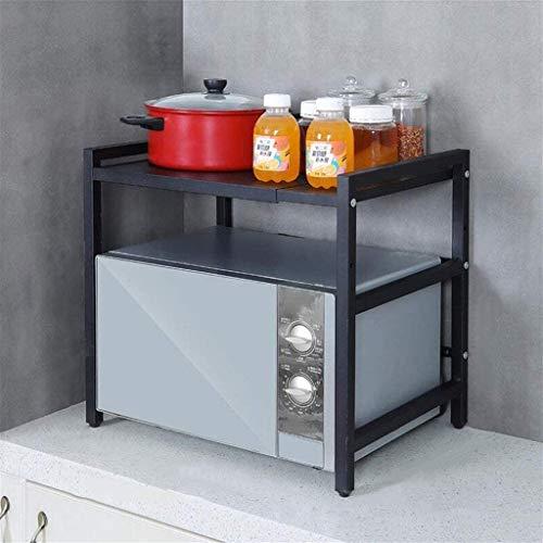 Rejilla Microondas Horno, Soporte Microondas Extensible, Mueble Microondas Encimera Cocina, Carga 50 kg/110lbs, con 3 Ganchos, 10cm Altura Ajustable, (41-60) x 36 x 47 cm, Negro ( Color : Black )