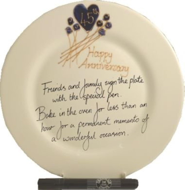 45th Wedding (Sapphire) Anniversary Plate (Flower) (Rd)