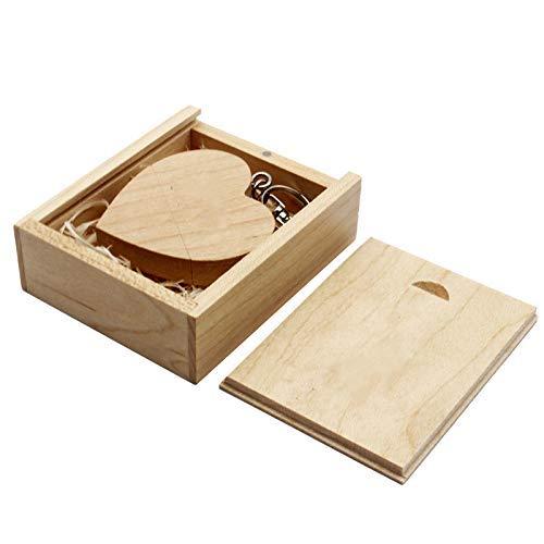 Memoria USB 2.0/3.0 de madera en forma de corazón con madera (3.0/128 GB, arce)