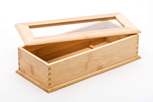 Happy Sales HSUH-BUTFLB, Utensil Holder With Divider and Lid Drawer Flatware Organizer 10.75'L, Bamboo