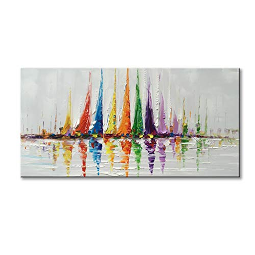 """Canvas Wall Art Sailboat Oil Painting Hand Painted Colorful Abstract Boat Impression Artwork Modern Sailing Decorations Framed and Stretched 48""""x24"""""""