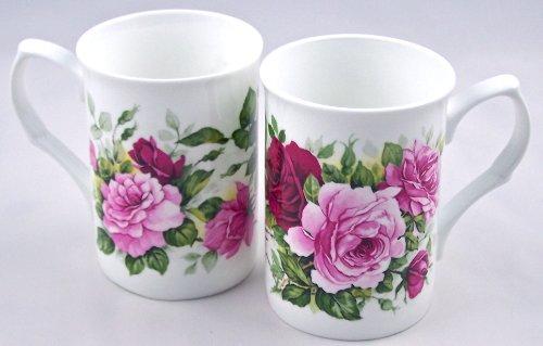 Pair Fine English Bone China Mugs - Summertime Pink Rose Chintz - Large Decal