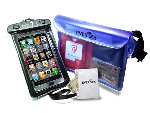 EVER SEA Waterproof Phone case and Pouch - Set of 2 with Extra Water Resistant Wallet