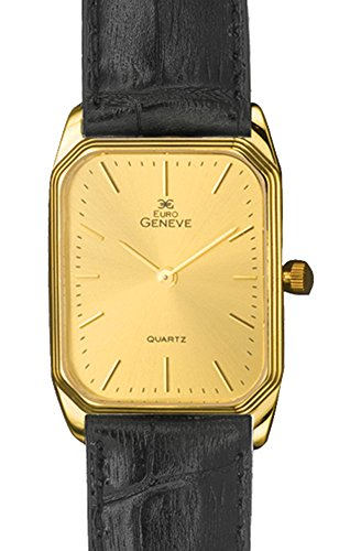 Euro Geneve 14K Gold Men's Rectangle Leather Band Watch