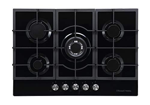 Russell Hobbs - Cocina de gas con 5 fuegos, 75 cm, acero inoxidable 5 quemadores de gas, color negro Negro