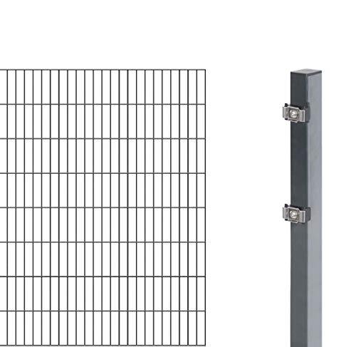 GAH-Alberts 644192 Erweiterung zu Doppelstabmattenzaunverzinkt-Zaunelement mit Zubehör-Zum Anbauen an EIN Grundset-kunststoffbeschichtet, anthrazit-1600 mm x, anthrazit, 2 m / 1600 mm