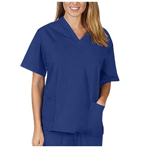 Zilosconcy Arbeitskleidung Kurzarm T-Shirts V-Ausschnitt Tops Pflege Medizin Arzt Uniform Berufsbekleidung Krankenschwester Kleidung mit Tasche Damen Uniformen Oberteil MarineM