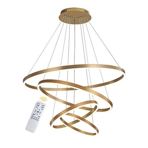 4-Ring LED-Hängelampe Dimmbar Gold Kronleuchter 108W LED-Ringleuchte Lampe Moderne LED-Hängeleuchte Rund Ring-Pendelleuchte mit Fernbedienung,Esszimmer Design Lampe Wohnzimmer Leuchte,20+40+60+80CM