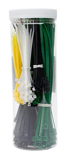 Kopp Kabelbinder-Set in Box, 300 Stück, 150 St. 200 x 4,8 mm und 150 St. 100 x 2,5 mm, weiß, schwarz und grün, 324601099
