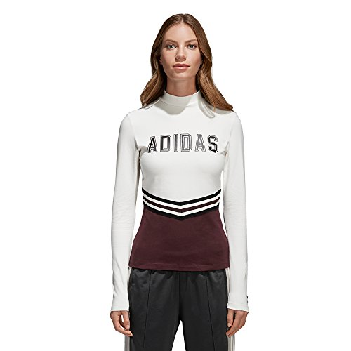 adidas Adibreak LS tee Camiseta, Mujer, Blanco (Blatiz/Granat), 28