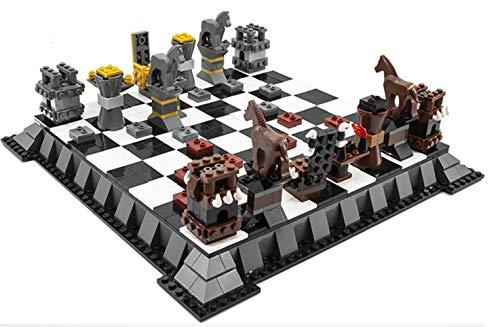 QQW Ajedrez hecho de ladrillos Lego, ajedrez de rompecabezas ensamblado, regalo de cumpleaños de un niño (1142 piezas) / A