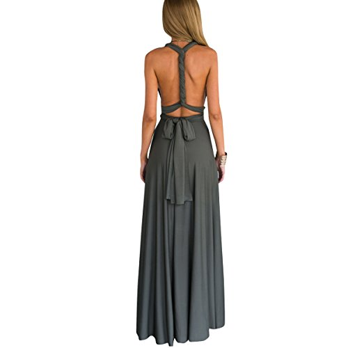 Women's Transformer Convertible Multi Way Wrap Long Prom Maxi Dress V-Neck Hight Low Wedding Bridesmaid Evening Party Grecian Dresses Boho Backless Halter Formal Cocktail Dance Gown Deep Grey Small