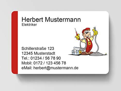 100 Visitenkarten, laminiert, 85 x 55 mm, inkl. Kartenspender - Elektriker Strom