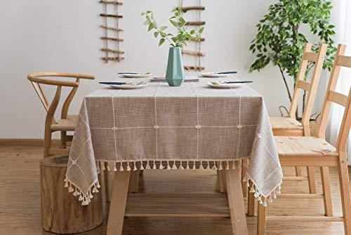 Lanqinglv Quaste Tischdecke 100x160 Beige Kariert Baumwolle und Leinen Tischtuch Rechteck Couchtisch Tischdecke Gartentischdecke Abwaschbar Küchentischabdeckung für Speisetisch (100x160,Beige)