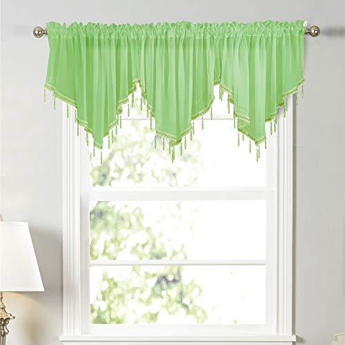Molaxhome Vorhangvorhang mit gewelltem Rand, 160 cm Länge, mit Kristallperlen zum Aufhängen, für Bauernhaus, Küche, Schlafzimmer, Fenster, Dekoration, 160 cm, Grün