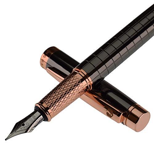 Ingram Leyburn Pluma estilográfica de lujo, color negro con borde de oro rosa, punta media de flujo suave, con 2 cartuchos de tinta negra, convertidor de tinta de repuesto, caja de regalo ejecutiva