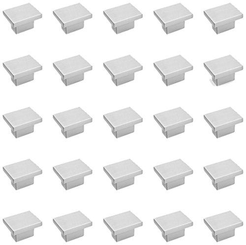 Emuca 9161451 Pomo para mueble, 36x25mm, zamak, niquel satinado, Set de 25