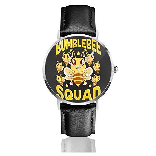 Relojes Anolog Negocio Cuarzo Cuero de PU Amable Relojes de Pulsera Wrist Watches Escuadrón de abejorros Escuadrón de Abejas