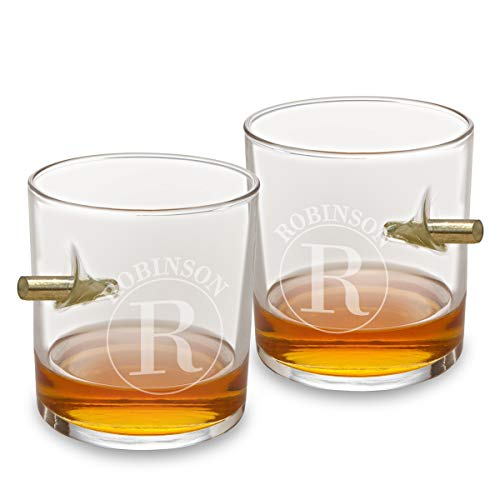 Personalized Whiskey Glasses for Men, Customized Bullet Glasses Set of 2 (Circle Design) - Unique Valentines Day Gift for Him, Boyfriend, Dad, Husband