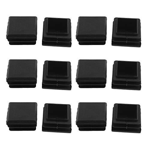 12 Stück quadratisch / rund 1 Zoll Kunststoff schwarz Plug Glide Einlage Endkappe Rohrkapseln Sortiment für Stuhl Gleiten Zaun Fitness Ausrüstung Tisch Hocker Bein Rohr Schlauchloch, Square