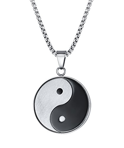 Vnox Stainless Steel Matte Finished Yin Yang Pendant Necklace with Free Chain 24""