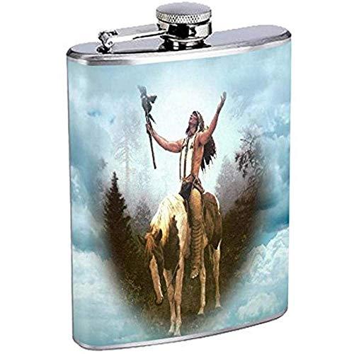 Indianer Flachmann D5 Edelstahl Tribes Zelt Wild West 7OZ