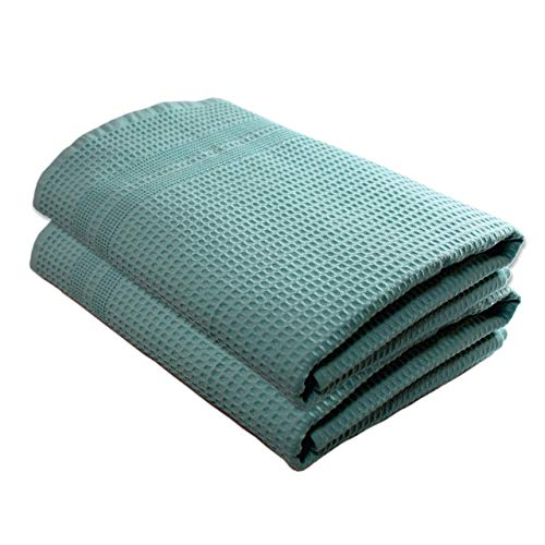 Gilden Tree Premium Waffle Weave Bath Towels 2 Pc Set 100% Natural Cotton Quick Dry Lint Free Soft Luxurious Fabric Solid Colors Oversized Thin Cloth Fade Resistant (Seafoam)