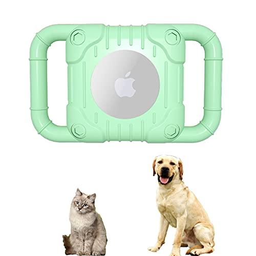SJHY Airtag Funda Protectora de Silicona Compatible Collar protección para Perros Cáscara Accesorios Cachorros y Gatos Soporte Bucle Mascotas Rastreador GPS Ligero Suave,Verde