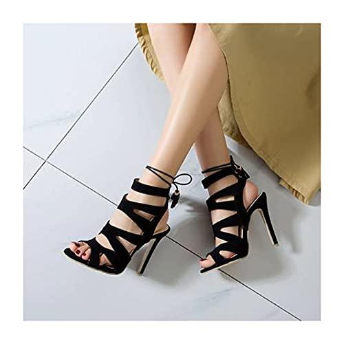 XIANWFBJ Damen-High-Heels, Neue Sommer-Sandalen Mit Fischmaul, Gefrostete Stiletto-High-Heels, Einfarbige Schnürmodelle (Größe 34 Bis 50),Schwarz,40 EU
