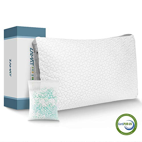 ZAMAT Luxury Shredded Memory Foam Pillow for Sleeping, Breathable and Adjustable Bed Pillows, Hypoallergenic Cooling Pillow with Washable and Removable Cover from Bamboo Derived Rayon (Queen)