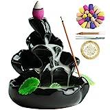 VVMONE Ceramic Incense Holder with 100 Incense Cones + 30 Incense Stick, Waterfall Backflow Incense Burner, Aromatherapy Ornament, Zen Decor, Home Decor, Room Decor