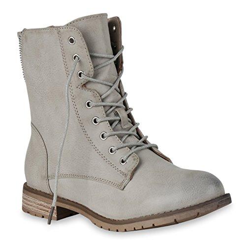 Damen Schnürstiefeletten Boots Camouflage Stiefeletten Leder-Optik Schnür Übergrößen Schuhe 129849 Hellgrau Camargo 37 Flandell