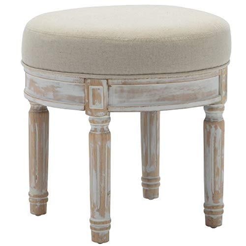 """chairus Round Ottoman Stool with White Washed Wood Legs, Fabric Upholstered Vanity Stool for Bedroom, Retro Piano Stool for Living Room, 18.5"""" H, Cream"""