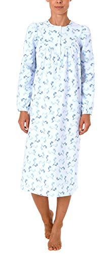 NORMANN-Wäschefabrik Damen Finette Nachthemd fraulich mit Knopfleiste am Hals - auch in Übergrössen - 61885, Größe2:48/50, Farbe:blau