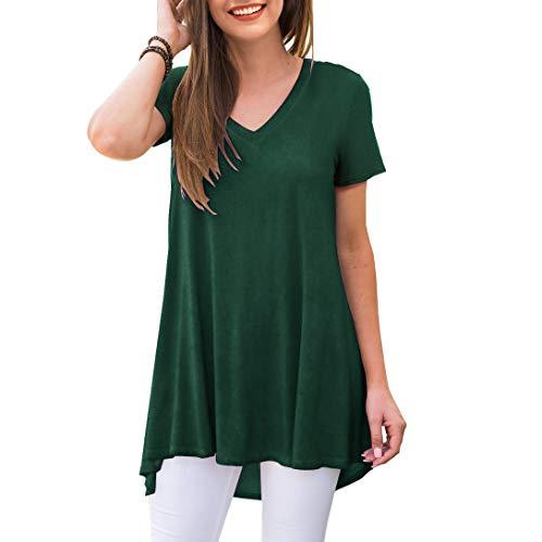 AWULIFFAN Women's Summer Casual Short Sleeve V-Neck T-Shirt Tunic Tops Blouse Shirts(Dark Green,XX-Large)