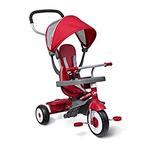 """Radio Flyer 4-in-1 Stroll 'N Trike, Red Toddler Tricycle for Ages 9 Months -5 Years, 19.88"""" x 35.04"""" x 40.75"""" -"""
