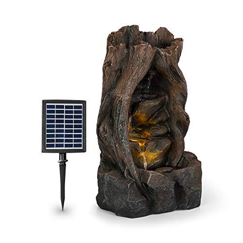 blumfeldt Magic Tree Solarbrunnen,inkl. Solarpanel,Leistung: 2,8 Watt,Lithium-Ionen-Batterie (ca. 5h Laufzeit),LED-Beleuchtung,Material: Polyresin,frostbeständig,Holzoptik