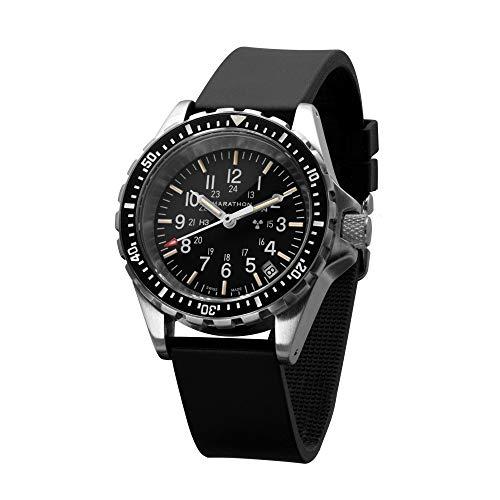 Marathon Swiss Made Military Issue Milspec Diver's Quartz Medium Watch with Tritium Illumination (36mm, Rubber Strap) WW194027