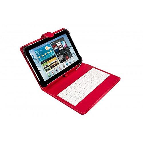 Silver HT - Funda Universal con Teclado Micro USB para Tablet de 9  a 10.1 , Color Rojo y Blanco