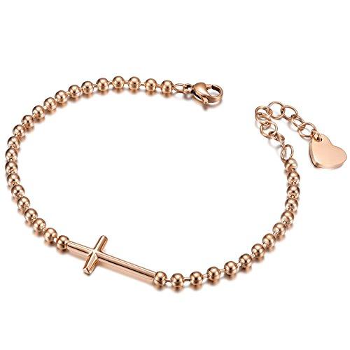 WISTIC Armband Frauen Gold Armreif Damen Rosegold mit Kreuz Coin Armriefen Silber (verstellbar)