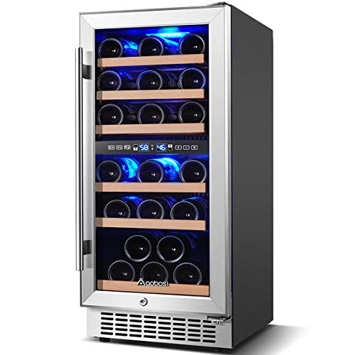 AAOBOSI Wine Cooler Refrigerator 15 inch Dual Zone Wine Fridge for 30 Bottles Built in or Freestanding Compressor Wine Chiller with Temperature Memory   Fog Free, Front Vent, Quick and Quiet Operation