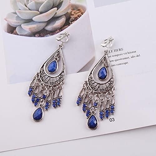 Vintage Clip on Earrings for Women Ethnic Resin Multicolor Drop Oil Large Bohemia no Pierced Earrings Statement Jewelry