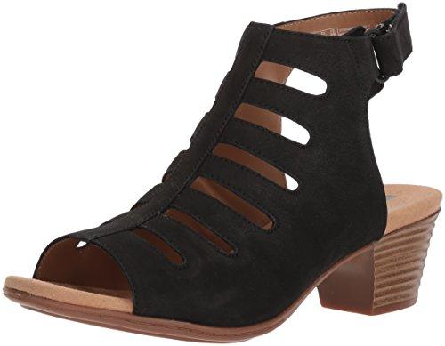 Clarks Women's Valarie Shelly Heeled Sandal, Black Nubuck, 6 Medium US