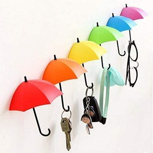 Uyikoo Key Holder Key Hanger Wall Key 6 Pcs Colorful Umbrella Wall Rack Wall Key Holder Key Organizer For Keys Jewelry And Other Small Items 6pcs Home Kitchen