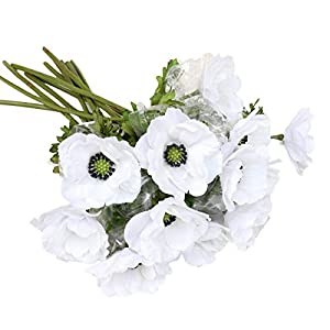 LebriTamFa 5Pcs Artificial Pulsatilla Chinensis 19″ Stems Fake Anemone Grecian Windflower Artificial Silk Flower Bouquets Room Home Decor Flower Arrangement Wedding Decoration (White)