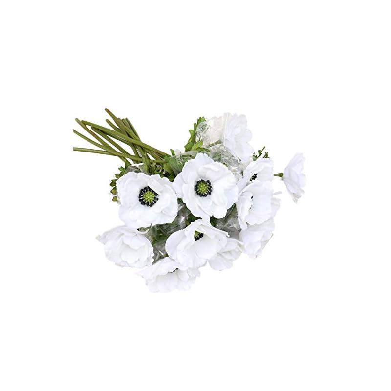 """silk flower arrangements lebritamfa 5pcs artificial pulsatilla chinensis 19"""" stems fake anemone grecian windflower artificial silk flower bouquets room home decor flower arrangement wedding decoration (white)"""