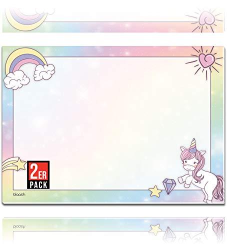 XXL Einhorn Schreibtischunterlage Papier DIN A2 für Kinder | 25 Blatt Block mit viel Platz zum Malen, Schreiben oder Kritzeln | Unterlage Schreibtisch Mädchen/Schreibtischunterlage | 2er Set