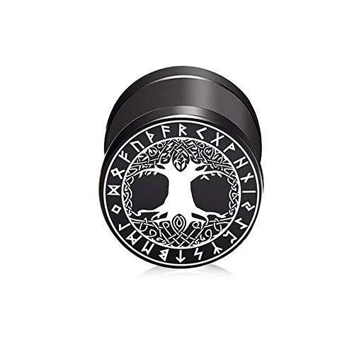 BlackAmazement Pendiente falso de acero inoxidable 316L de Yggdrasil con diseño del árbol de la vida, celtas, runas vikingas, 10 mm, negro, para hombre y mujer