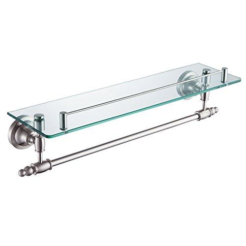 ZHEN GUO Porte-serviettes de style européen avec étagère en verre fixé au mur, chrome poli SUS304 Crochets en acier inoxydable et rail pour lavabo de salle de bain, étagères flottantes de 18 pouces