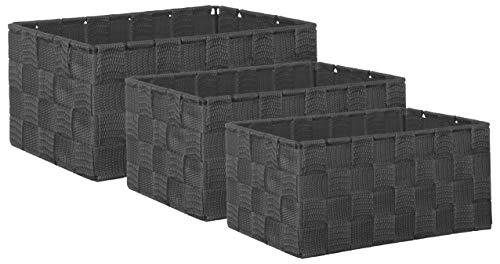 Brandsseller Aufbewahrungsbox Dekobox - Rattan-Optik - 3er-Set dunkelgrau